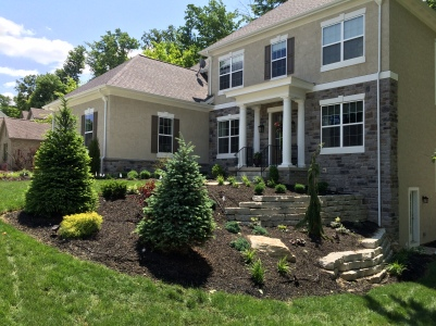 Westerville OH terraced stone retaining wall