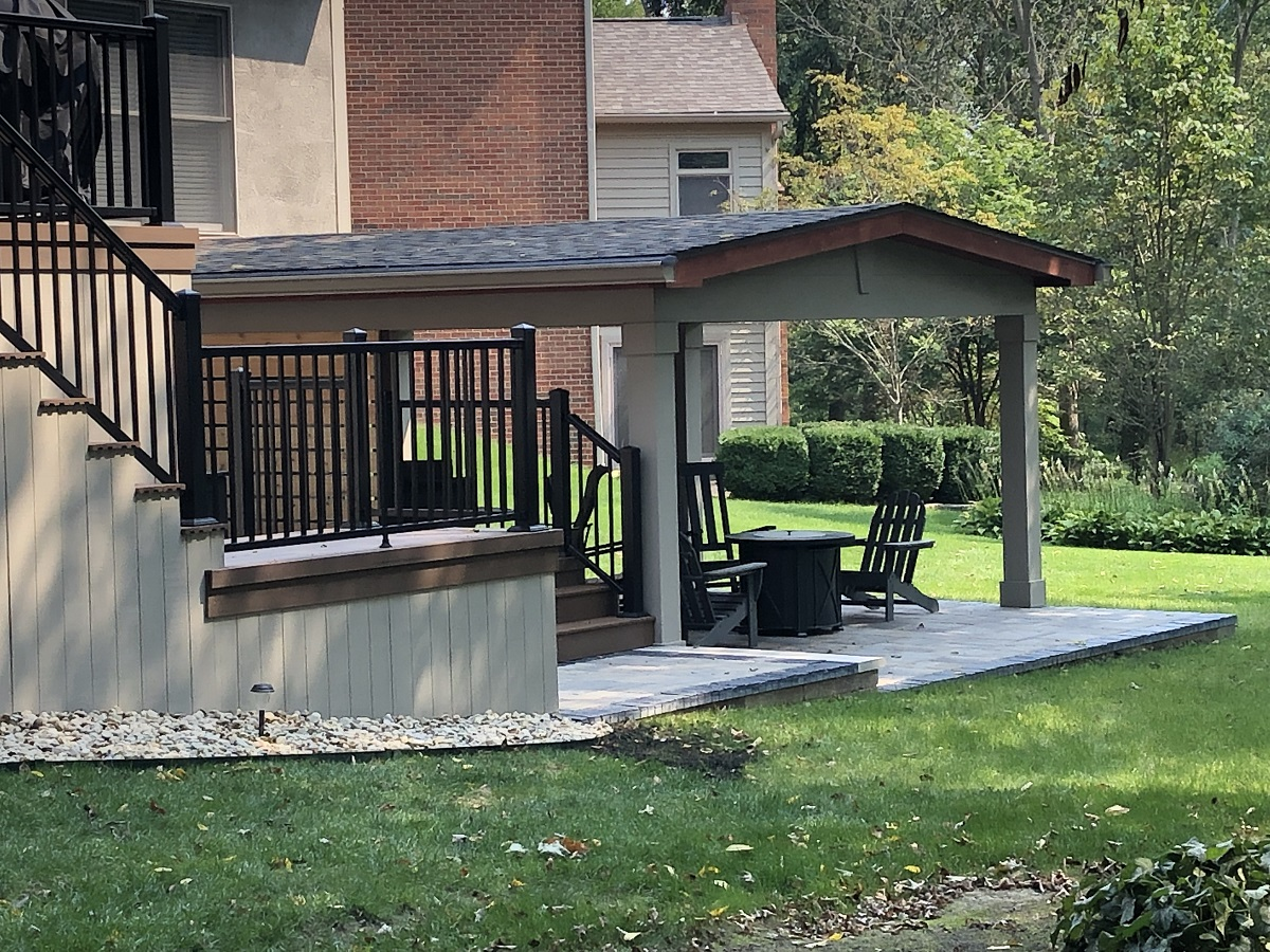 covered patio off timbertech deck in lewis center oh